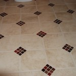 Bathroom Floor with Glass Inlay