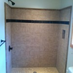 New tile shower in place of the old fiberglass tub/combo